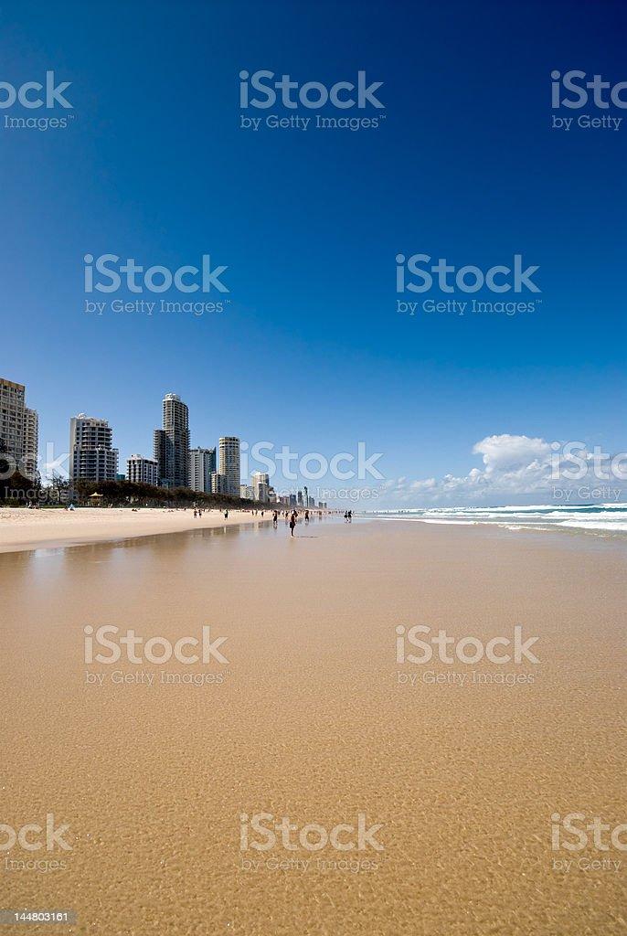 Beach and city at Surfers Paradise, Australia royalty-free stock photo