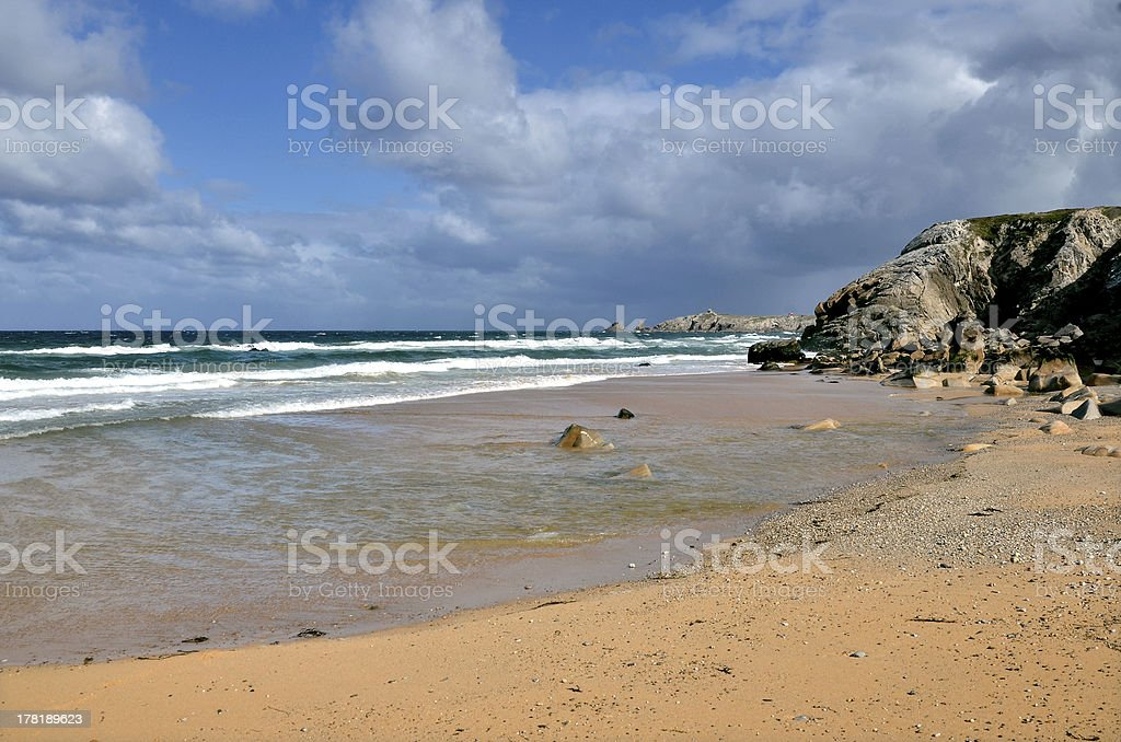 Beach and cliff at Quiberon peninsula in France royalty-free stock photo