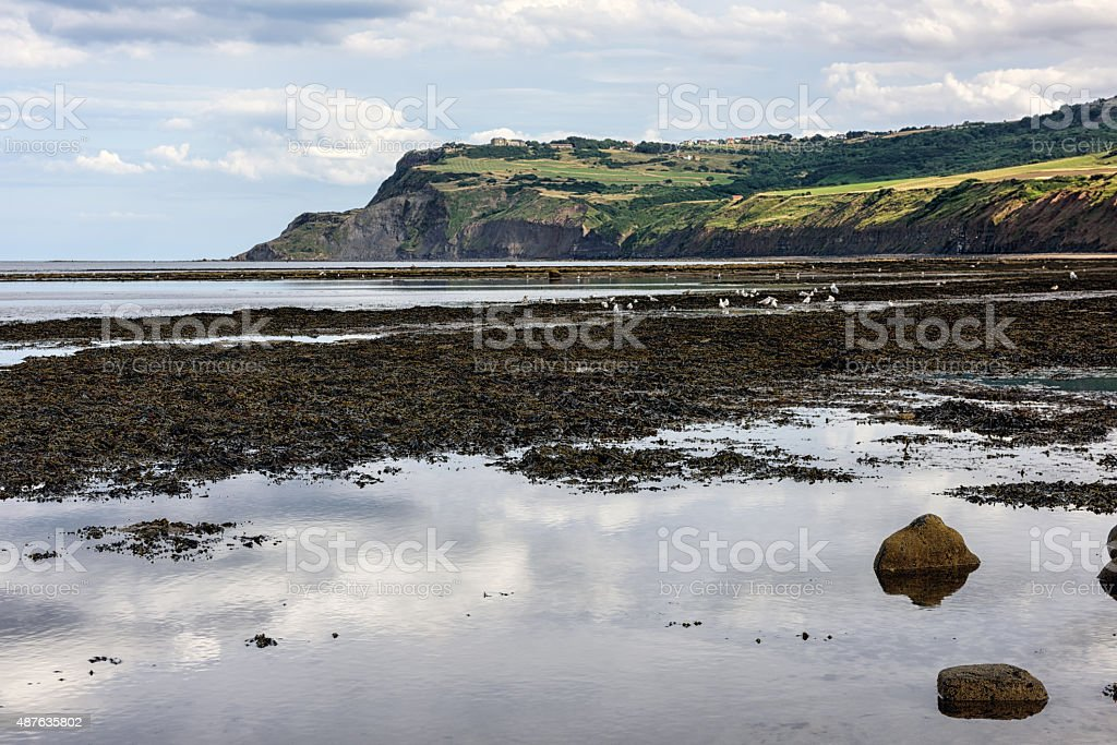 Beach and Cliffs  at Robin Hoods Bay, Yorkshire, England stock photo