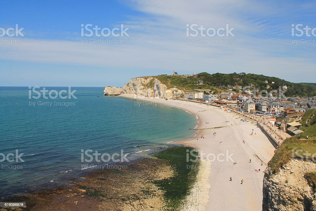 Beach and cliffs of Etretat, a tourist norman french town stock photo