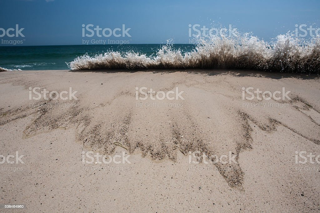 Beach and Crashing Wave on Cape Cod stock photo