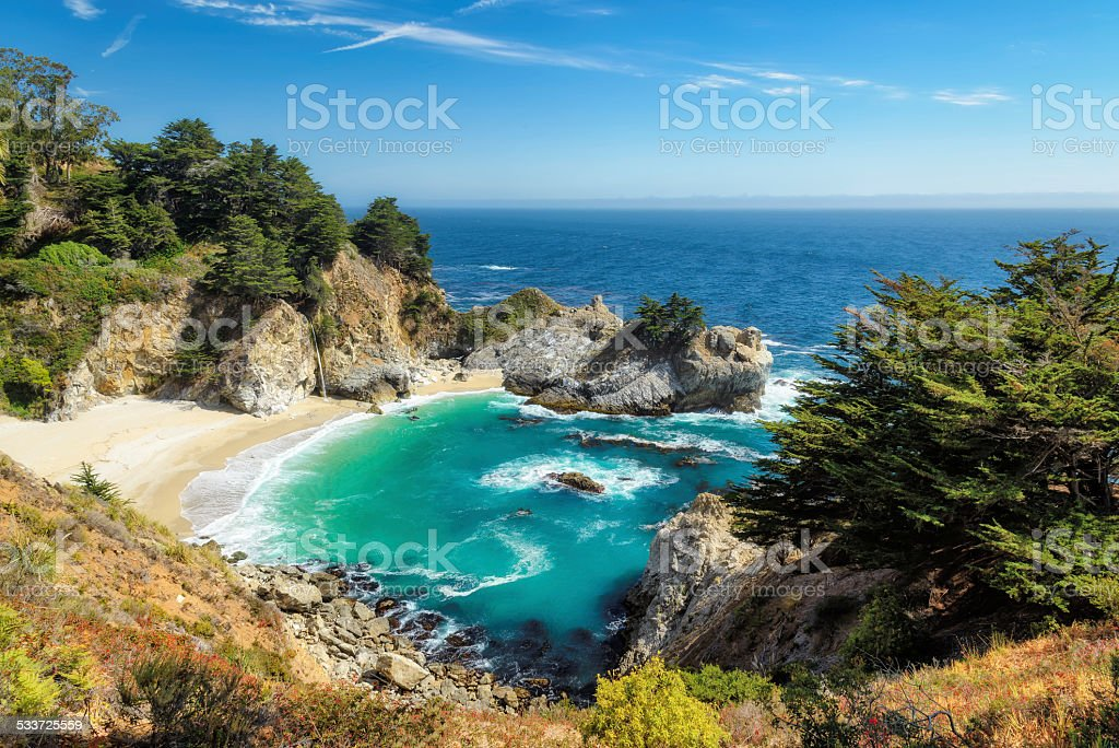 Beach and Falls, Julia Pfeiffer Beach, McWay Falls, California stock photo