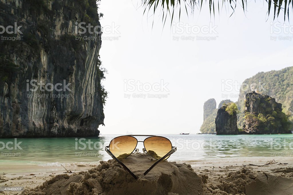 Beach and Glasses stock photo
