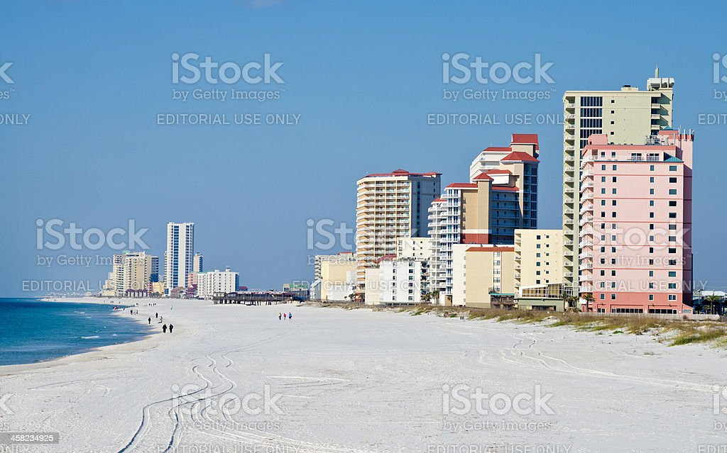 Beach and high rises in Gulf Shores, Alabama stock photo