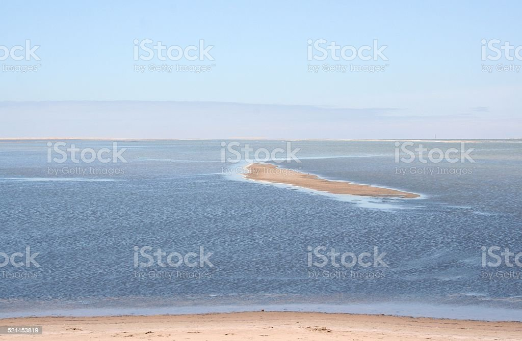 Beach and Island, Walvis Bay, Swakopmund, Namibia, Africa stock photo