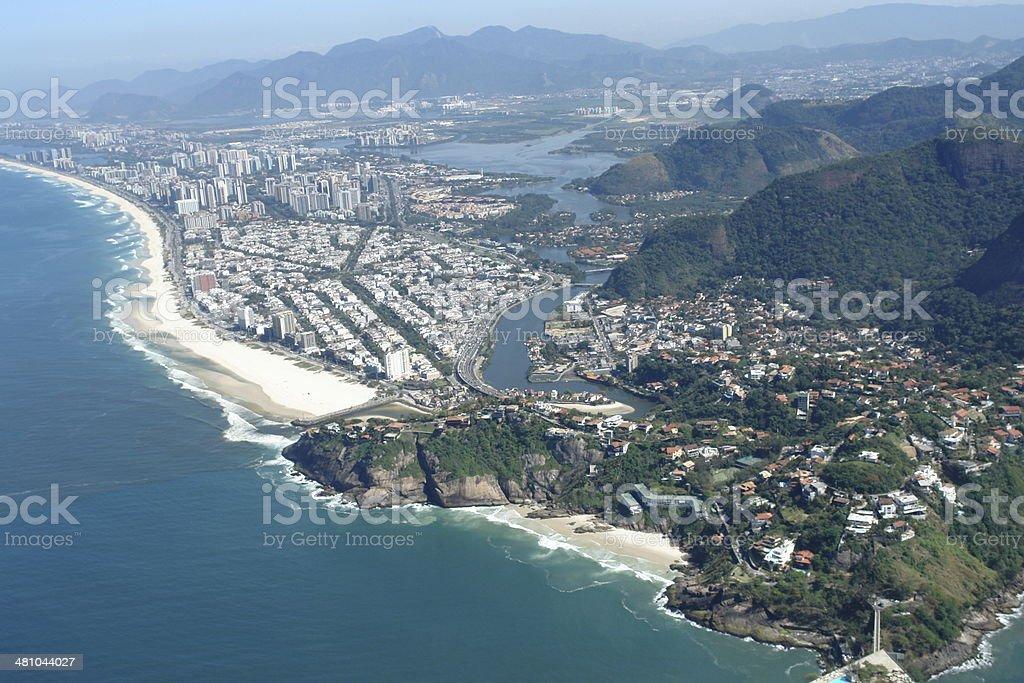 Beach and Marapendi canal in Barra da Tijuca, Rio, Brazil stock photo