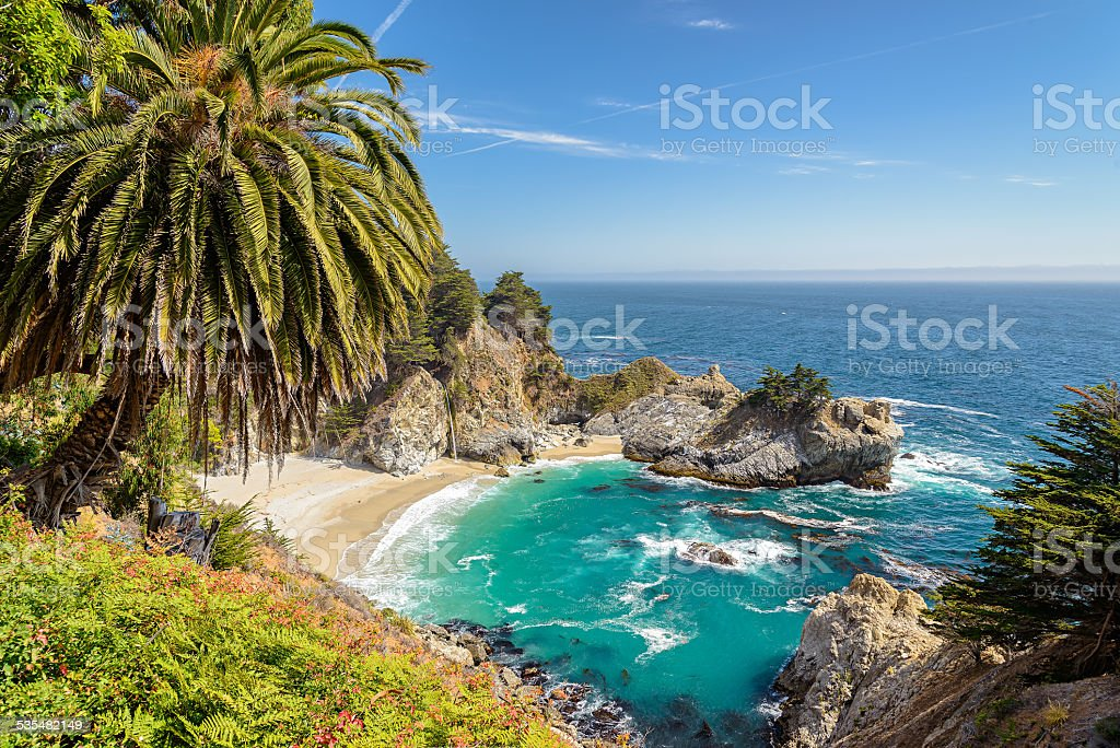 Beach and McWay Falls, Big Sur, California stock photo