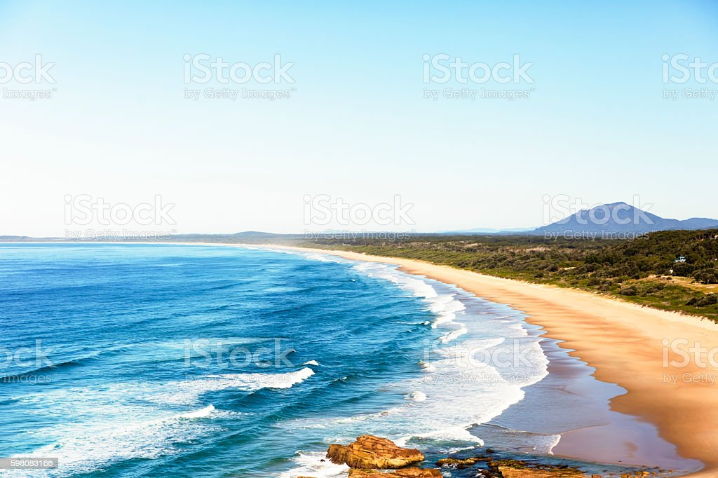 Beach and ocean, beautiful nature background with copy space stock photo