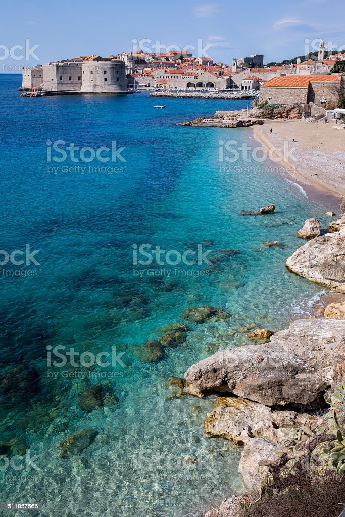Beach and Ocean near Dubrovnik Croatia stock photo