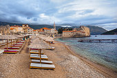 Beach and Old Town in Budva Montenegro