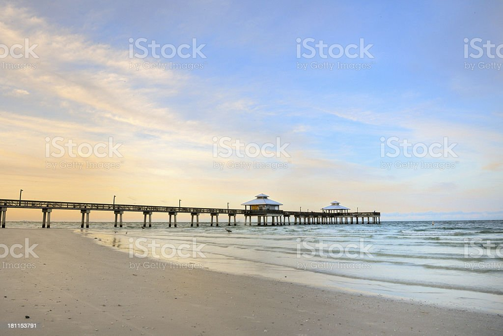 beach and pier at Fort Myers, Florida USA royalty-free stock photo