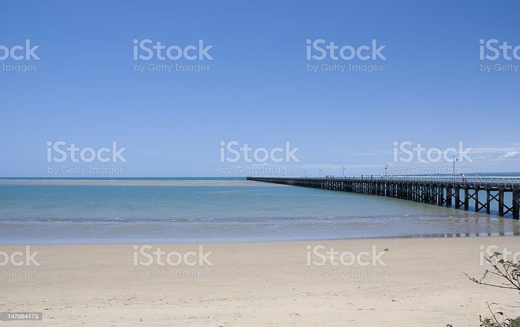 Beach and pier in Hervey Bay, Queensland, Australia stock photo