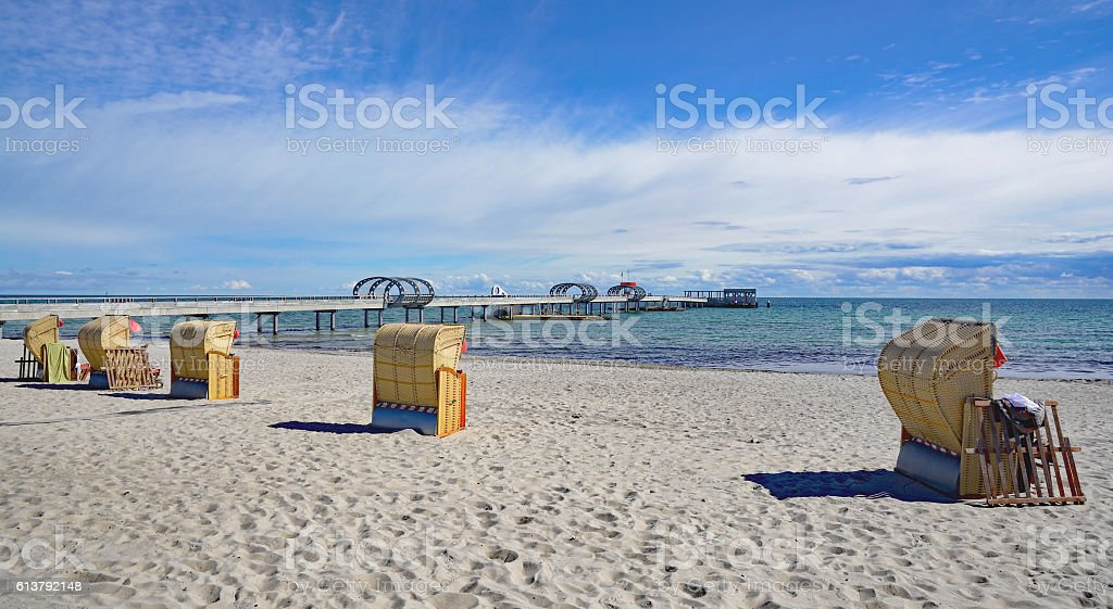 Beach and Pier,Kellenhusen,baltic Sea,Germany stock photo