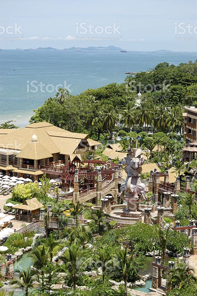 Beach and recreation area of the luxury hotel, Pattaya, Thailand royalty-free stock photo