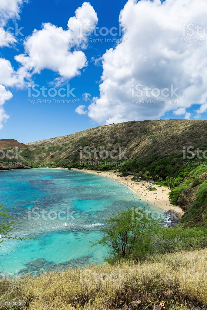 Beach and Reefs of Hanauma Bay on Sunny Day stock photo