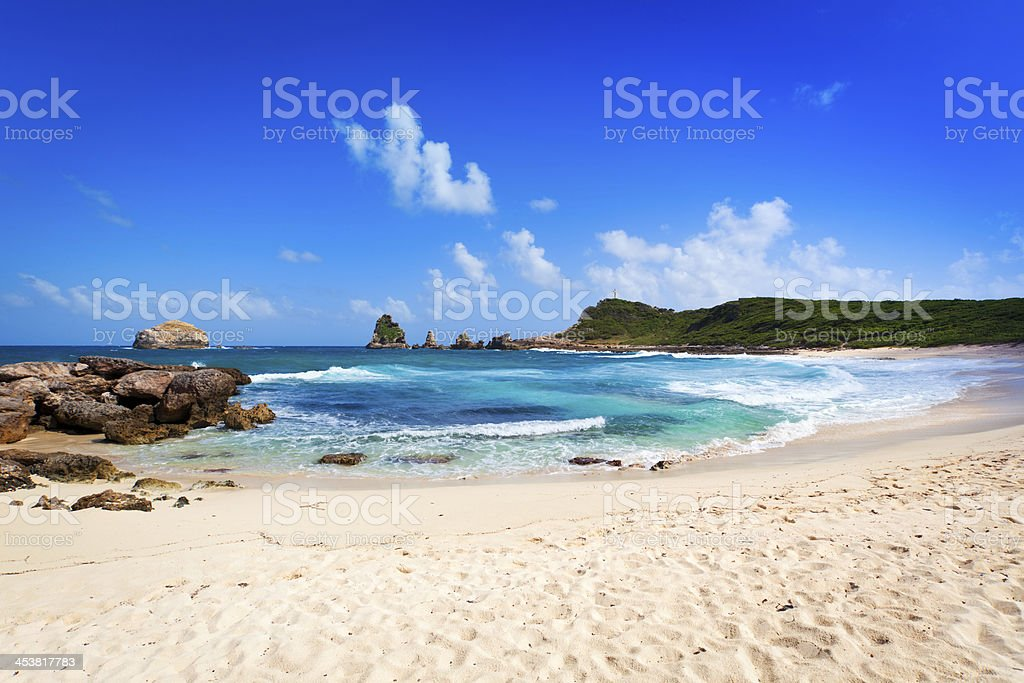 Beach and rocks at Pointe des Ch?teaux, Guadeloupe stock photo