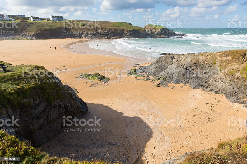 Beach and rocks Treyarnon Bay Cornwall England UK Cornish north stock photo
