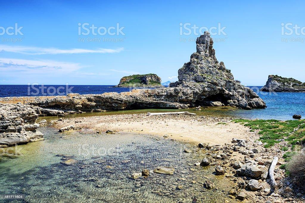Beach and rocky outcrops, seashore of Pianosa Island, Italy stock photo
