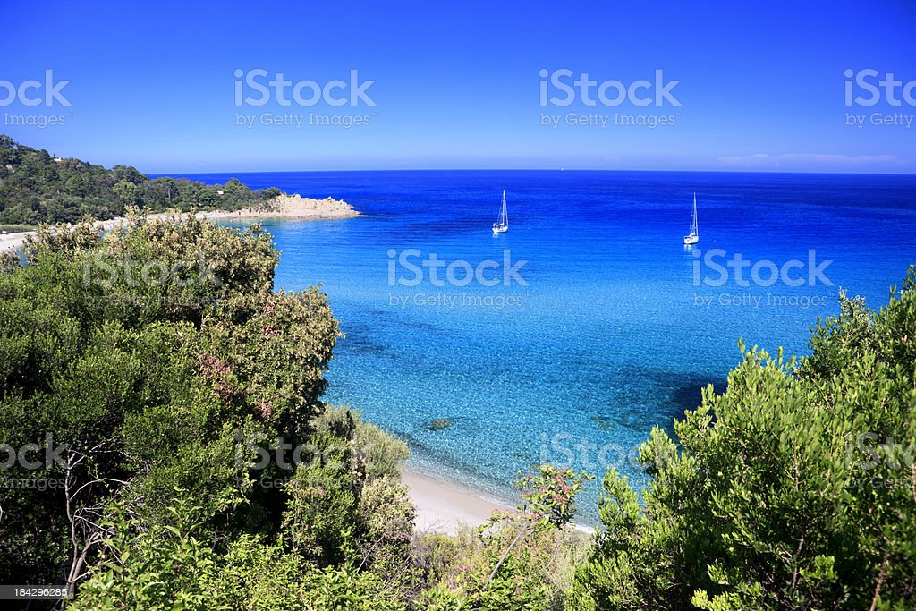 Beach and sailboats at Cannella, Corsica, France stock photo