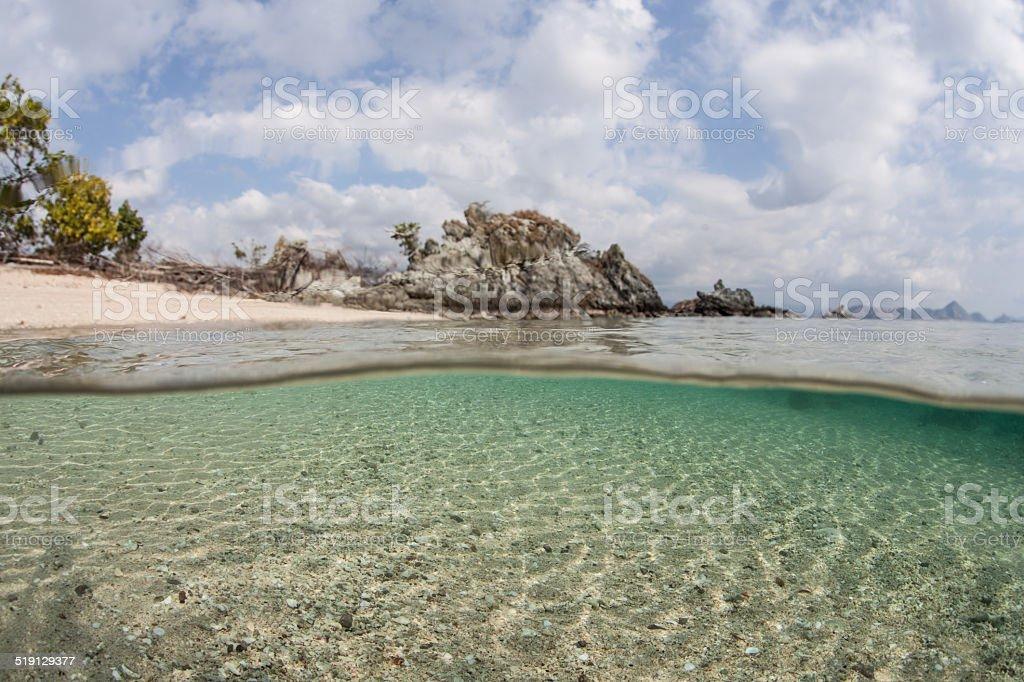 Beach and Sand Underwater stock photo