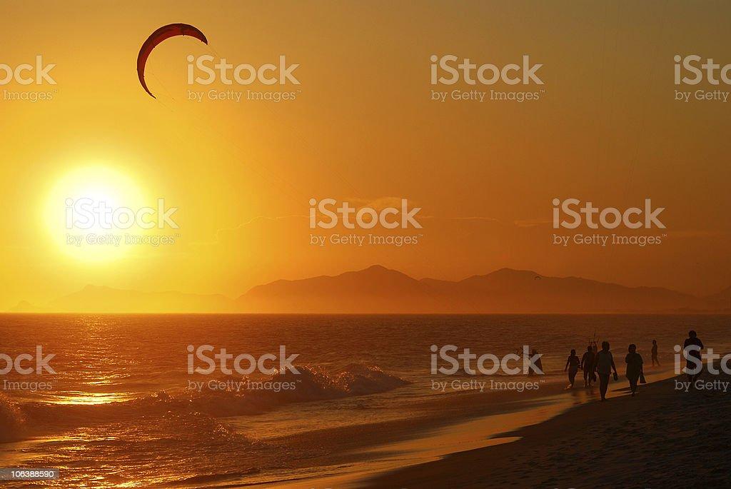 Beach and sea sunset stock photo