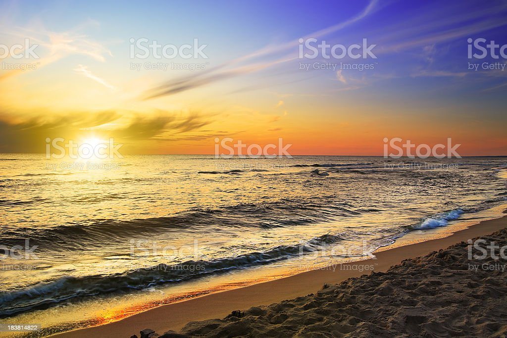Beach and sea - sunset stock photo