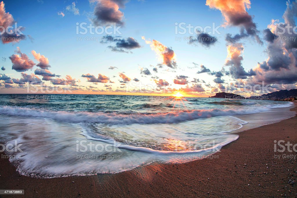 Beach and sea sunset stock photo