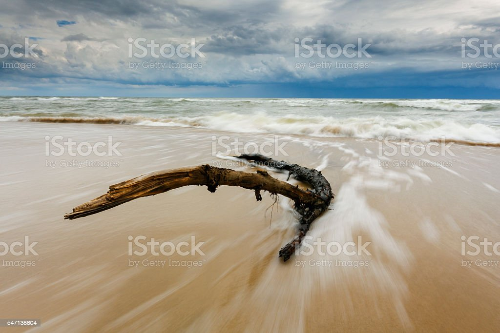 Beach And Sea With Upcoming Storm stock photo