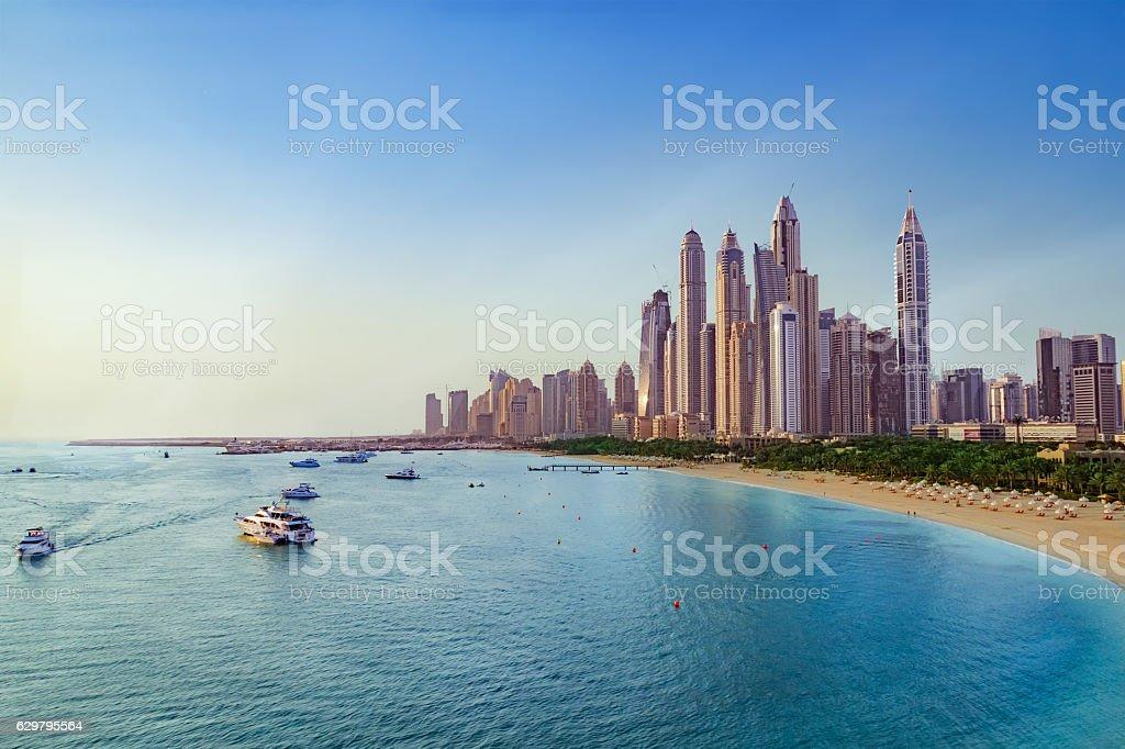 Beach and Skyline of Dubai Marina stock photo