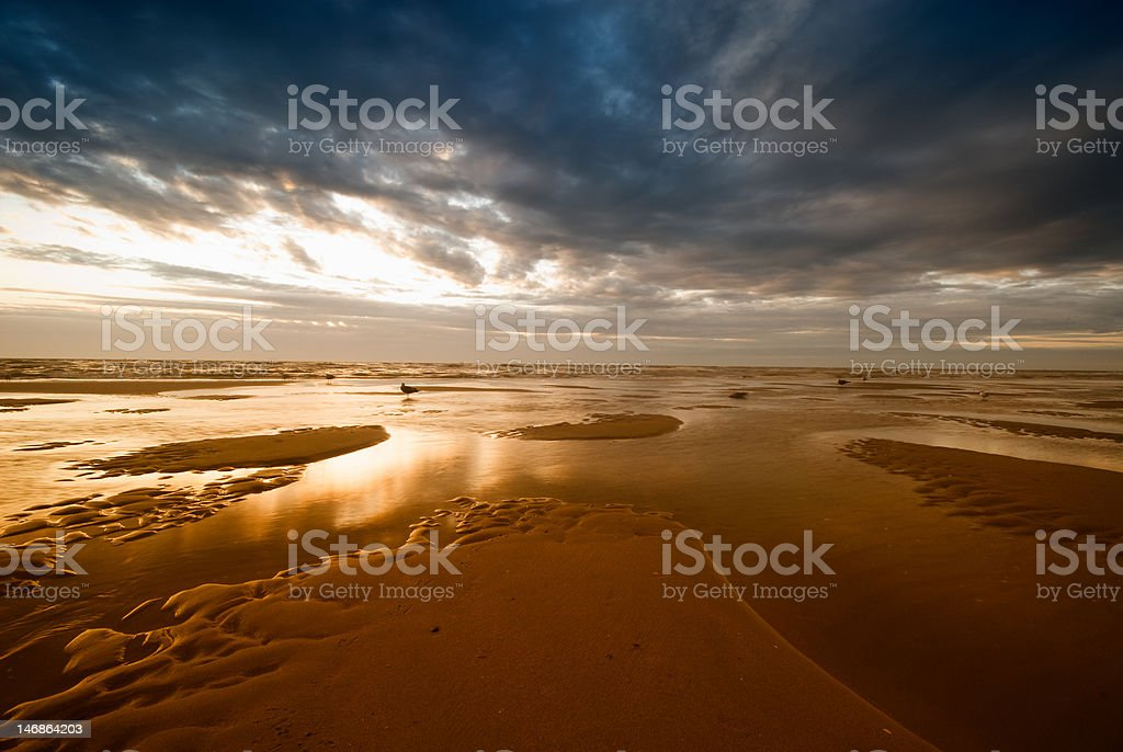 beach and sunset royalty-free stock photo