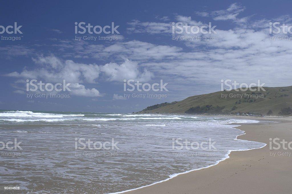 Beach and surf, Puawa, Gisborne, New Zealand stock photo