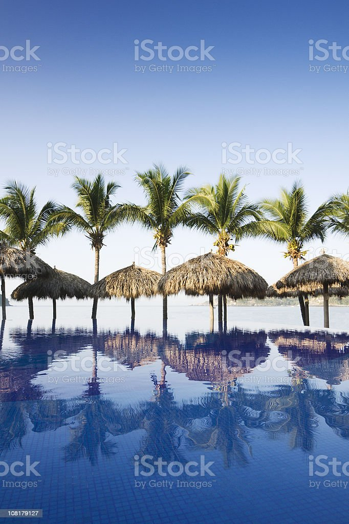 Beach and Swimming Pool of Tourist Resort Hotel in Mexico stock photo