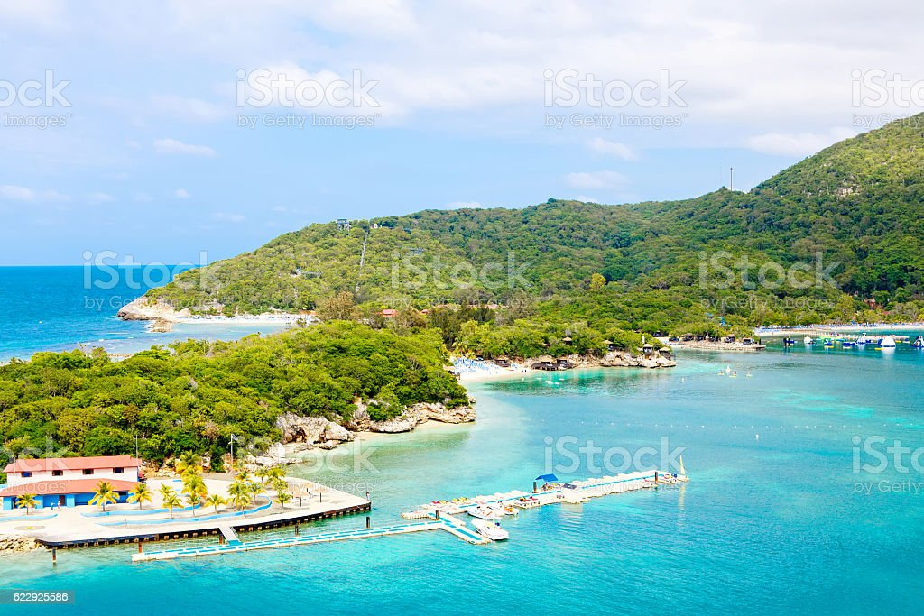 Beach and tropical resort, Labadee island, Haiti. stock photo