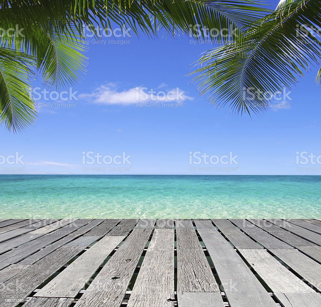 beach and tropical sea stock photo