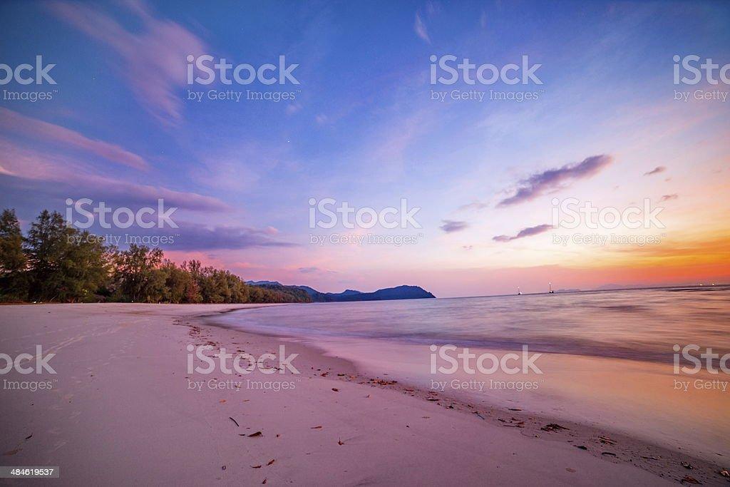 Beach and tropical sea Sunset stock photo