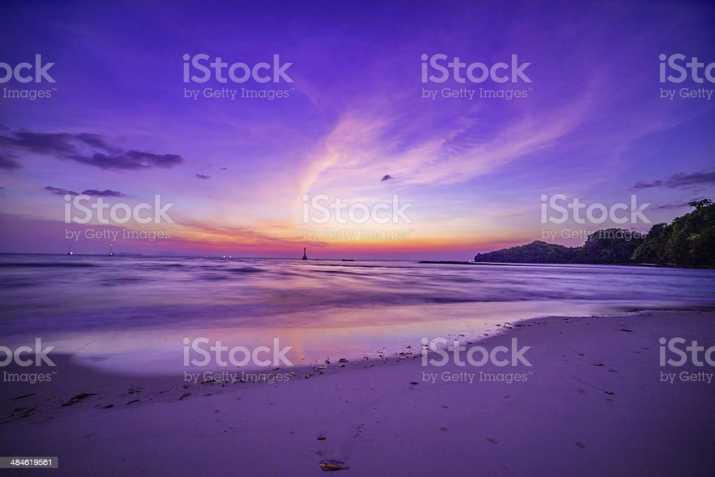 Beach and tropical sea Sunset stock photo