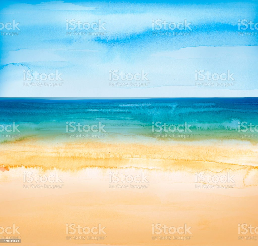 beach and tropical sea watercolors painting vector art illustration