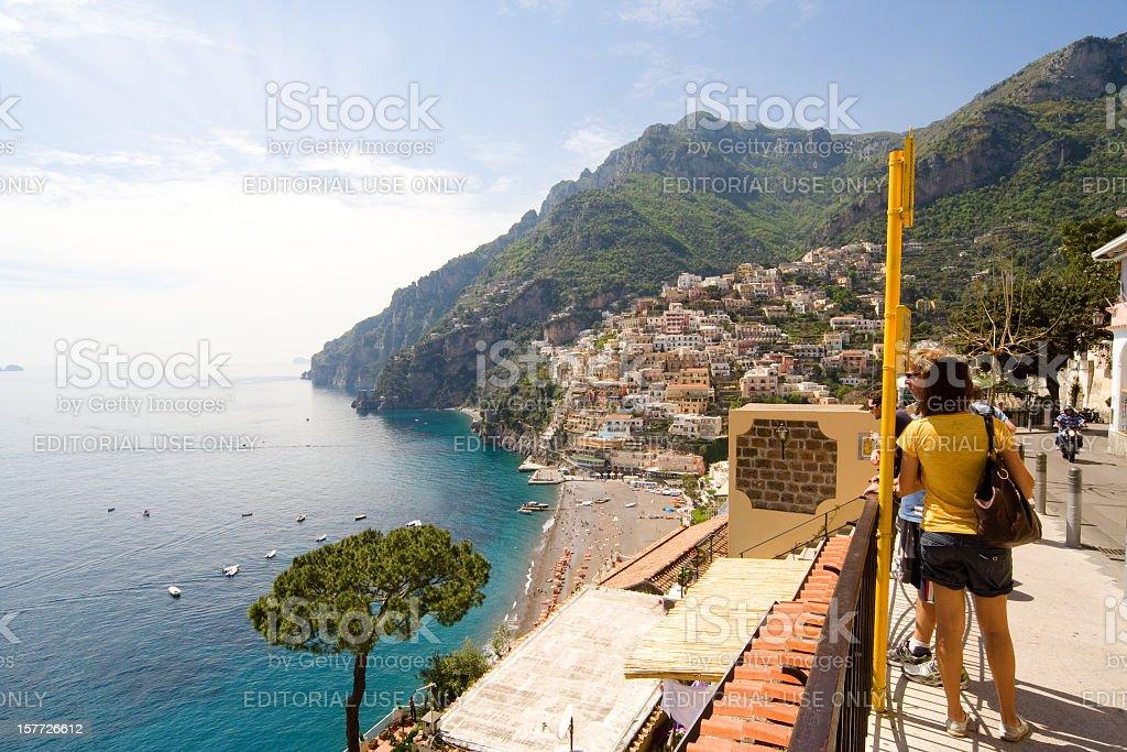 Beach and Turquoise Sea in Positano, Amalfi Coast, Italy stock photo