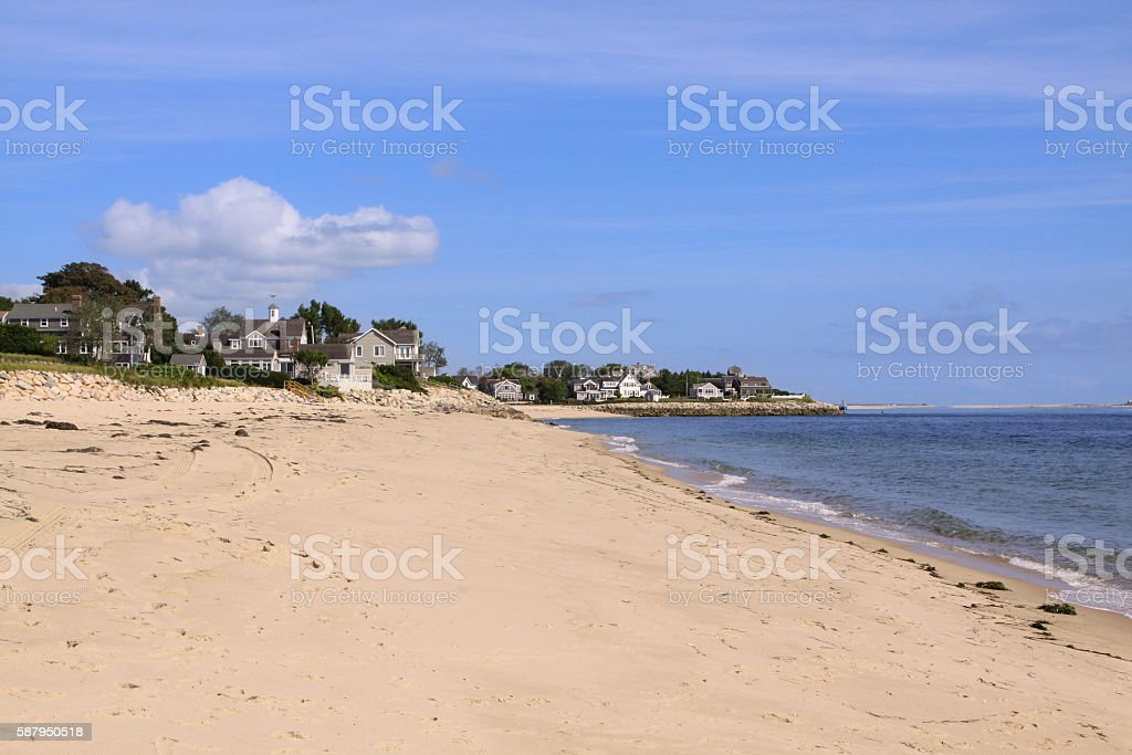 Beach and Waterfront New England Houses, Chatham, Cape Cod, Massachusetts. stock photo