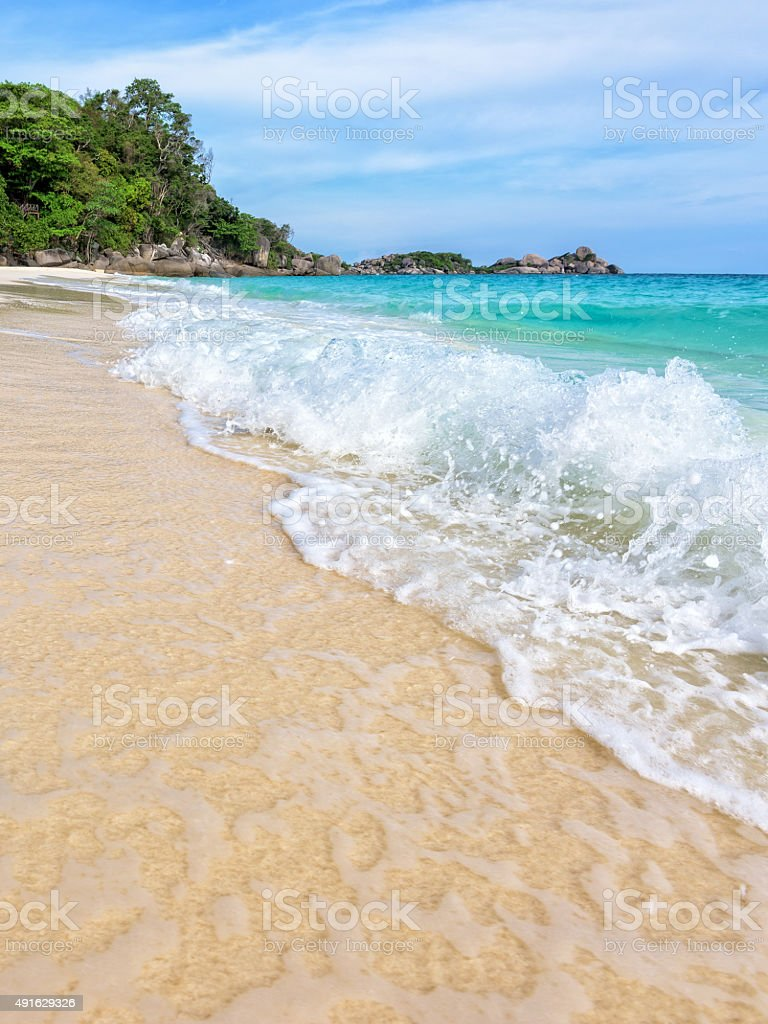Beach and waves at Similan National Park in Thailand stock photo