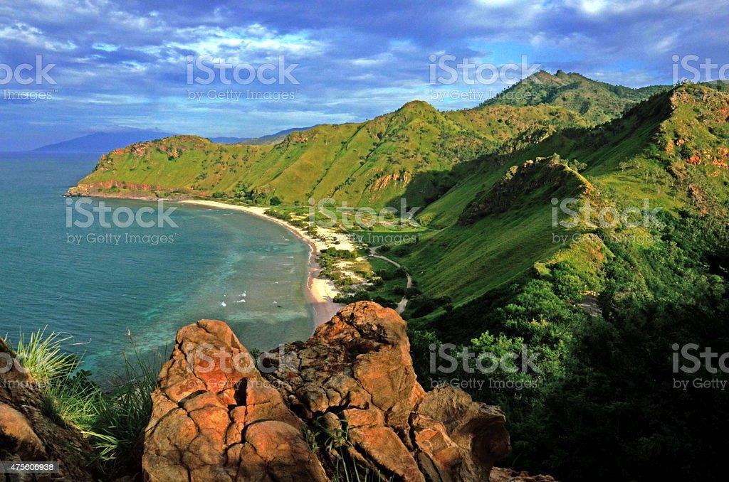 Beach around Fatucama Cristo Rei stock photo