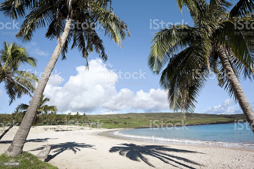 Beach at Anakena on Easter Island Chile stock photo