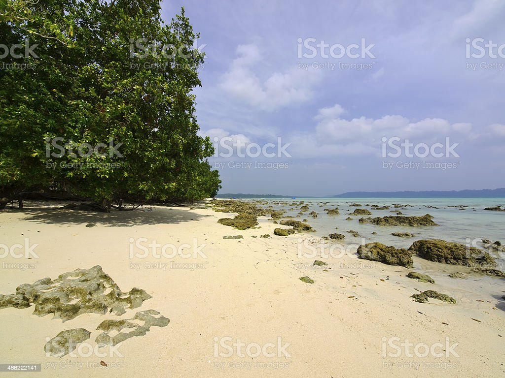 Beach at Andaman Archipelago in the Bay of Bengal stock photo