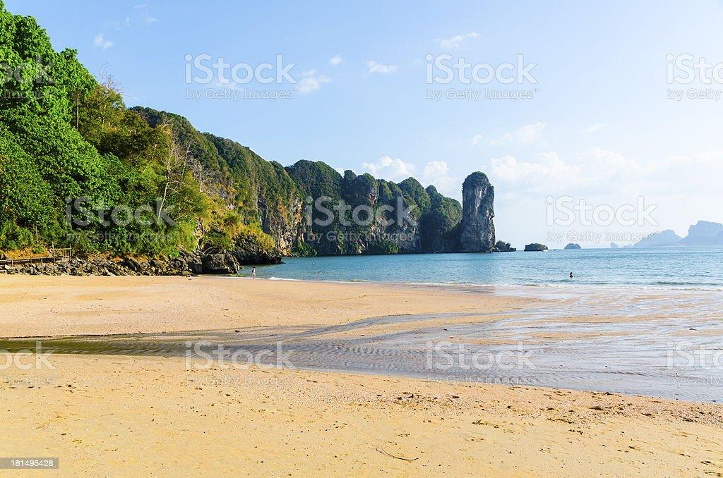 beach at Ao Nang and Railay coastal cliffs royalty-free stock photo