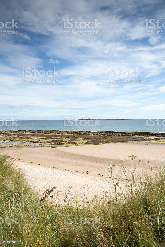 Beach at Bamburgh, Northumberland stock photo
