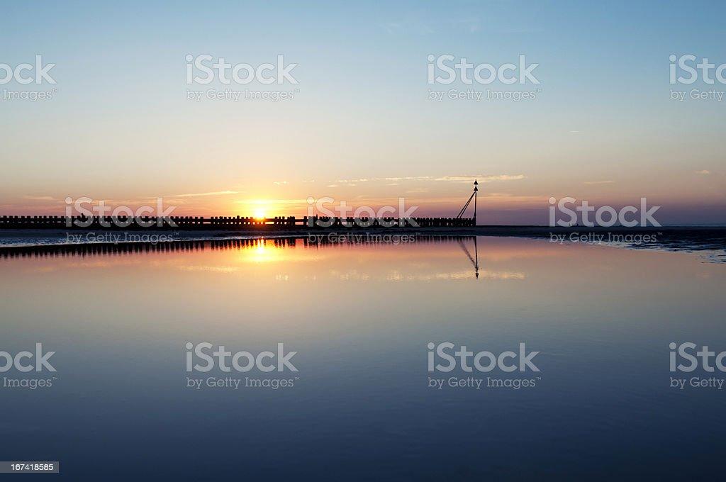 Beach at beautiful sunset, Wangerooge, Germany. royalty-free stock photo