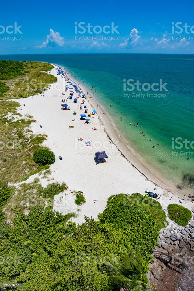 Beach at Bill Baggs Cape Florida State Park stock photo