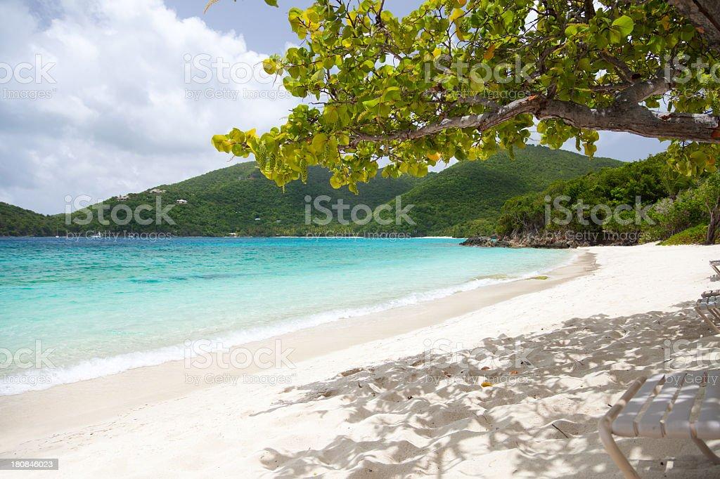 beach at Caneel Hawksnest Bay, St. John, US Virgin Islands stock photo