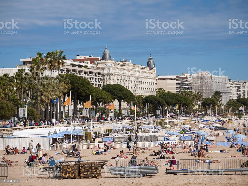 Beach at Cannes, France stock photo
