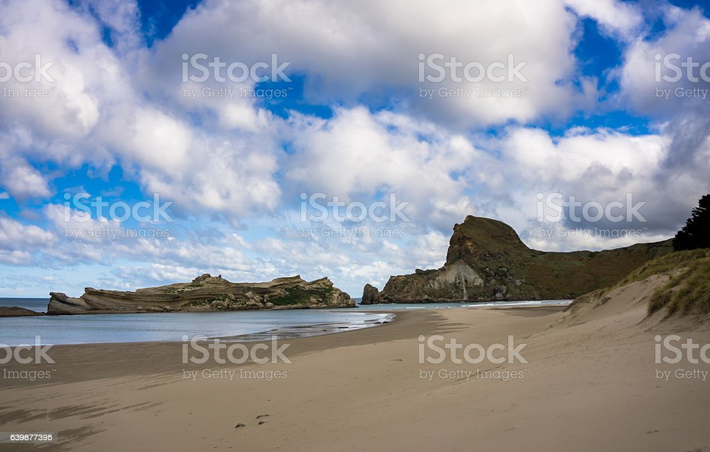 Beach at Castlepoint, New Zealand stock photo